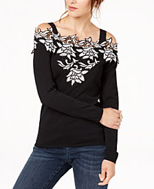 I.N.C. Appliqué Cold-Shoulder Sweater, Created for Macy's