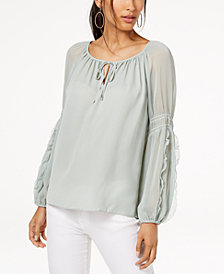 I.N.C. Ruffled Contrast Peasant Blouse, Created for Macy's