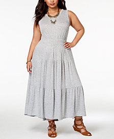 Lucky Brand Trendy Plus Size Smocked Maxi Dress
