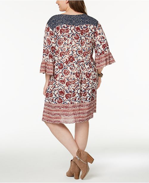 Style Co Plus Size Mixed Print Flutter Sleeve Peasant Dress