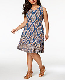 Style & Co Plus Size Mixed-Print Sleeveless Swing Dress, Created for Macy's