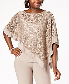 R & M Richards Sequined Lace Poncho Top
