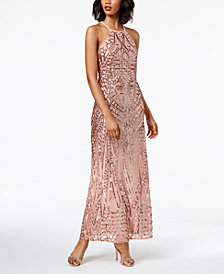 Nightway Sequined Strappy-Back Halter Gown