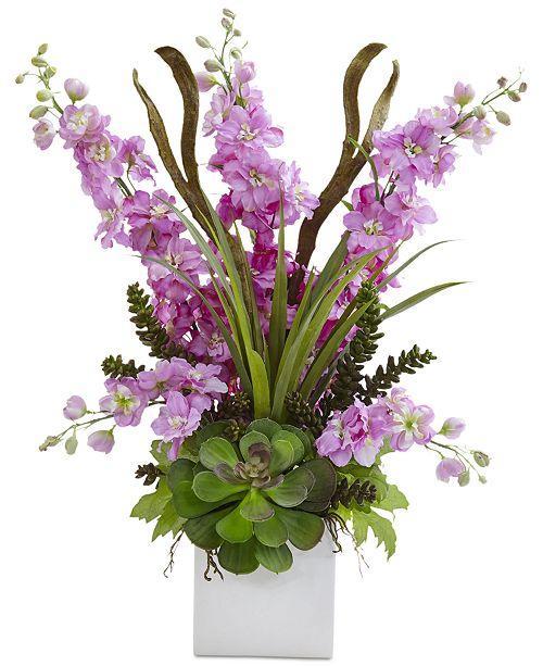 Nearly Natural Delphinium and Succulent Artificial Arrangement in Ceramic Planter
