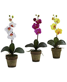 Nearly Natural Potted Phalaenopsis Artificial Arrangement, Set of 3