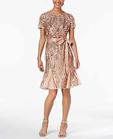 R & M Richards Sash-Belt Sequined Mesh Dress