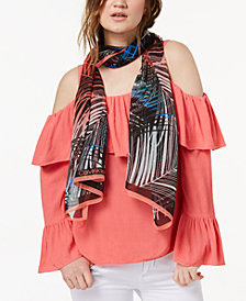 Calvin Klein Tropical Ferns Silk Chiffon Scarf