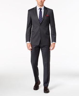 Men's Slim-Fit TH Flex Stretch Gray/White Stripe Suit Jacket