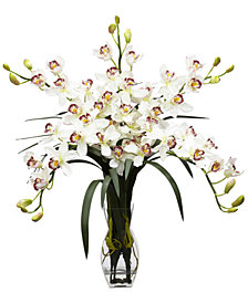 Nearly Natural Cymbidium Orchid Artificial Flower Arrangement
