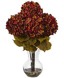 """Nearly Natural 18""""H Hydrangea Artificial Flower Arrangement with Glass Vase"""
