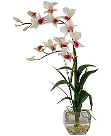 Dendrobium Artificial Flower Arrangement in Glass Vase