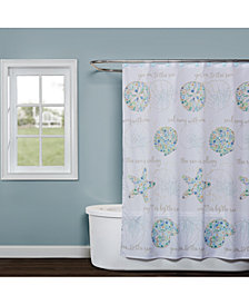 "Saturday Knight Seaside Blossoms 70"" x 72"" Graphic-Print Shower Curtain"
