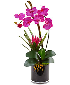Nearly Natural Pink Orchid & Bromeliad Artificial Arrangement in Glossy Black Cylinder Vase