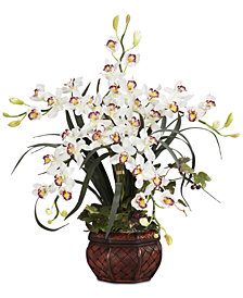 Nearly Natural White Cymbidium Artificial Arrangement with Decorative Vase