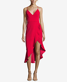 XSCAPE Petite Ruffled Asymmetrical Dress