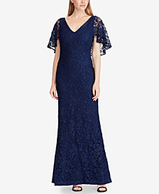 Lauren Ralph Lauren Embroidered Lace Gown