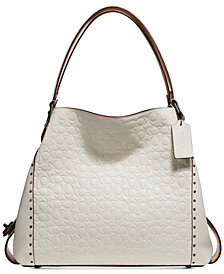 COACH Edie 31 Signature Embossed Leather Shoulder Bag