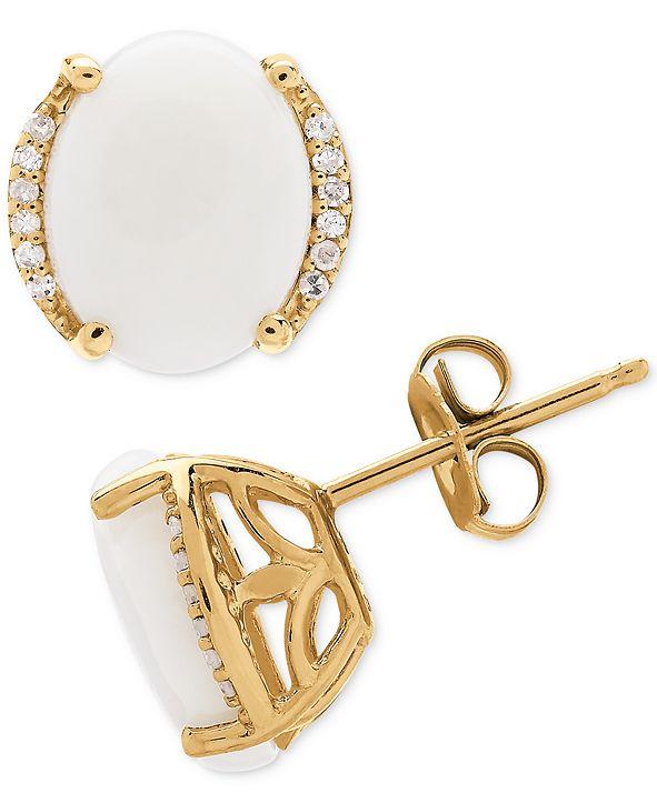 Macy's Opal (2 ct. t.w.) & Diamond Accent Stud Earrings in 14k Gold