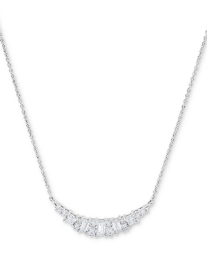 """Cubic Zirconia Heart 18"""" Statement Necklace in Sterling Silver"""