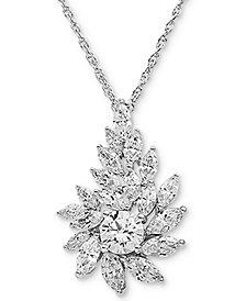 "Arabella Swarovski Zirconia Cluster 18"" Pendant Necklace in Sterling Silver"