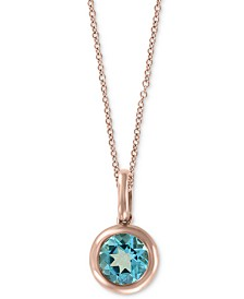 "EFFY® Blue Topaz Bezel 18"" Pendant Necklace (3/4 ct. t.w.) in 14k Rose Gold"