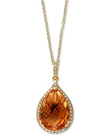 "Citrine (5-3/4 ct. t.w.) & Diamond (1/8 ct. t.w.) Diamond Teardrop 18"" Pendant Necklace in 14k Gold"