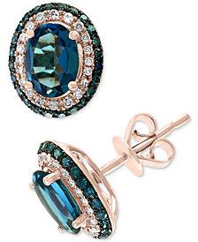 EFFY® London Blue Topaz (2-1/6 ct. t.w.) & Diamond (3/8 ct. t.w.) Stud Earrings in 14k Rose Gold