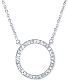 "Diamond Circle Pendant Necklace (1/4 ct. t.w.) in Sterling Silver, 16"" + 2"" extender"