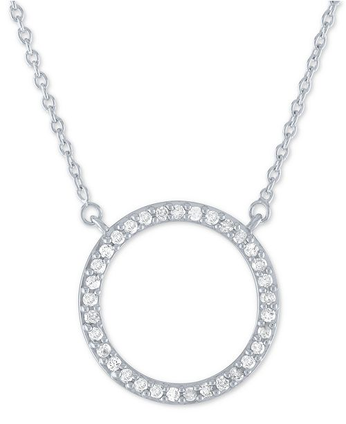 bd6e93ab6 ... Macy's Diamond Circle Pendant Necklace (1/4 ct. t.w.) in Sterling Silver  ...