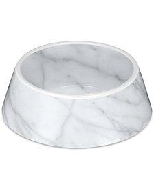 TarHong Faux Carrara Marble Medium Melamine Pet Bowl