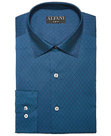 AlfaTech by Alfani Men's Classic/Regular Fit Lattice Diamond Dress Shirt, Created for Macy's