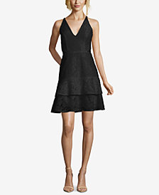 XSCAPE Ruffled Lace Fit & Flare Dress