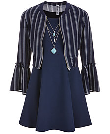 Beautees Big Girls Plus 3-Pc. Bell-Sleeve Bomber Jacket, Dress & Necklace Set