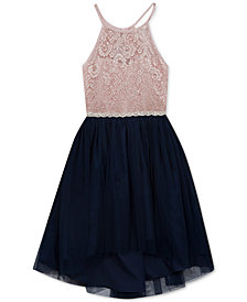 Rare Editions Big Girls Glitter Lace Dress