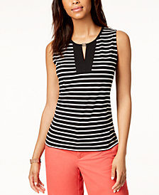 Tommy Hilfiger Sleeveless Striped Top, Created for Macy's