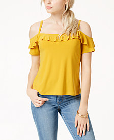 Bar III Flounce-Trim Cold-Shoulder Top, Created for Macy's