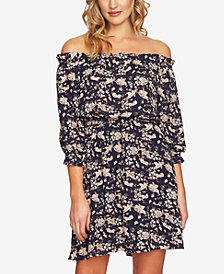 CeCe Printed Off-The-Shoulder Dress
