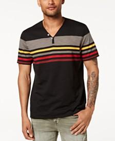 I.N.C. Men's Striped Split-Neck T-Shirt, Created for Macy's