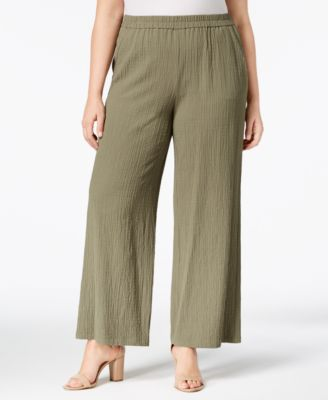 Plus Size Textured Wide-Leg Pants, Created for Macy's