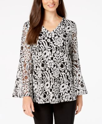 Alfani Petite Lace Bell-Sleeve Top Created for Macys