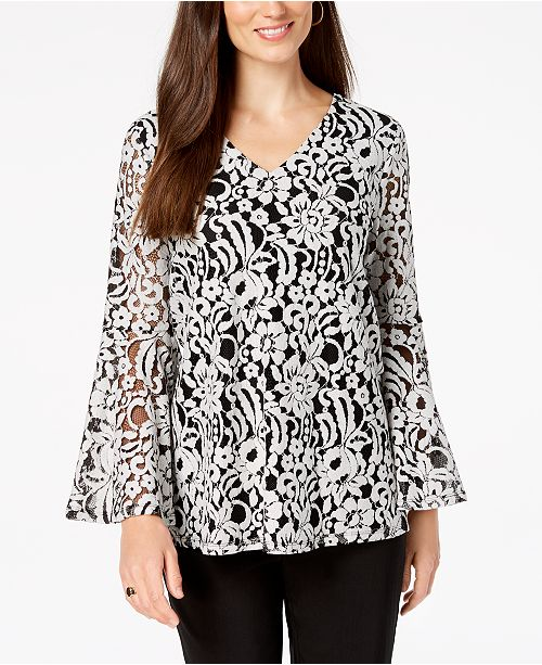 Petite Lace Bell-Sleeve Top, Created for Macy's