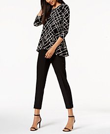 Anne Klein High-Low Blouse & Slim-Fit Pants