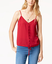 Hippie Rose Juniors' Tie-Front Cami Tank Top