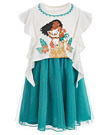Disney Little Girls Moana Ruffle-Sleeve Dress