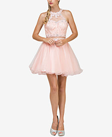 Dancing Queen Juniors' Embellished Lace Dress