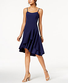 Vince Camuto Spaghetti-Strap Ruffled Dress