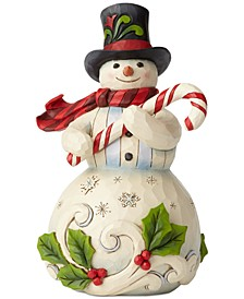 Snowman with Candy Cane Figurine