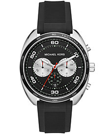 Michael Kors Men's Chronograph Dane Black Silicone Strap Watch 43x48mm