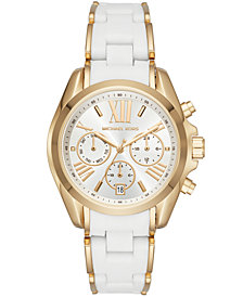Michael Kors Women's Chronograph Bradshaw Gold-Tone Stainless Steel & White Silicone Bracelet Watch 40x45mm