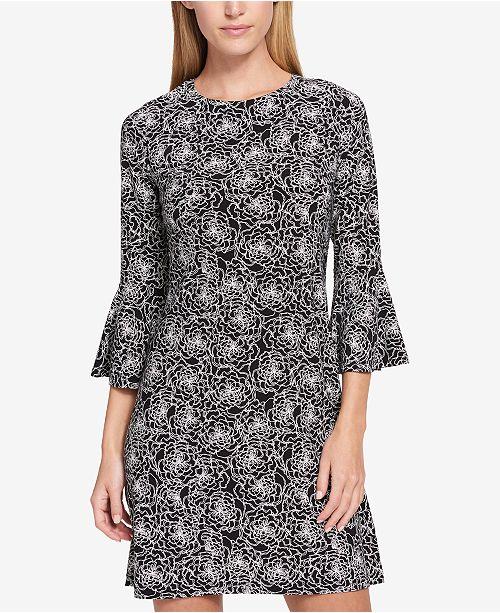 ba7099c77 Tommy Hilfiger Printed Bell-Sleeve Dress   Reviews - Dresses ...